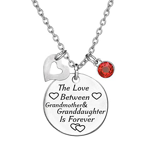 TISDA Birthstone Crystals Necklace,The Love between Grandmother and Granddaughter is Forever Necklace Family Jewelry Christmas Gift (July) ()