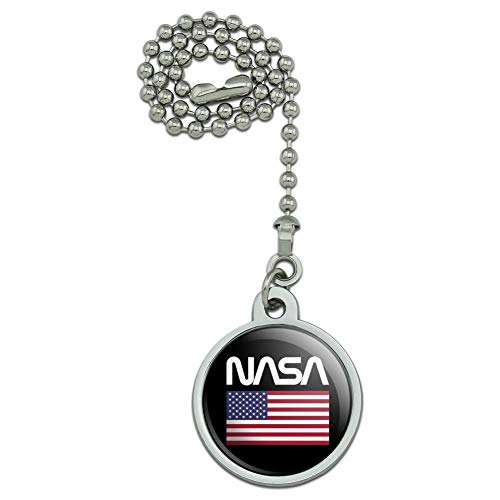 GRAPHICS & MORE NASA Official Worm Logo United States USA Flag Ceiling Fan and Light Pull Chain ()