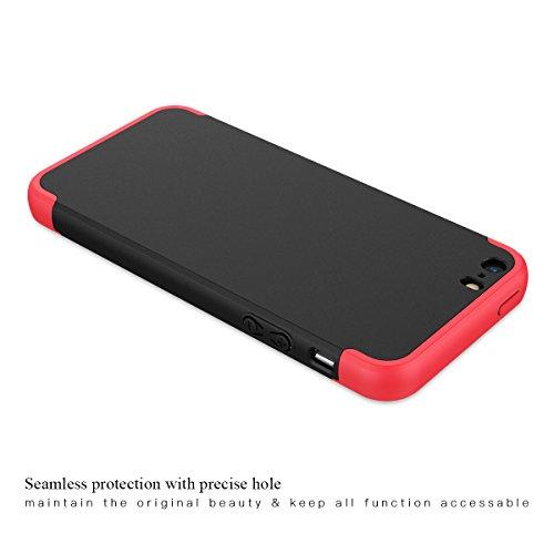 Funda iPhone SE / iPhone 5 / iPhone 5s, CE-Link Carcasa Fundas para iPhone SE / iPhone 5 / iPhone 5s, 3 en 1 Desmontable Ultra-Delgado Anti-Arañazos Case Protectora - Rojo + Negro