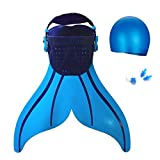 Betterhill Mermaid Flipper Swimming Swim Pool Flippers Swimming Toy Swimmable for Youth(Blue)+Free Nose Clip,Earplugs and Swim Cap