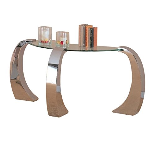Unique Design Glass Top Occasional Sofa Console Table (Top Glass Moon Half)