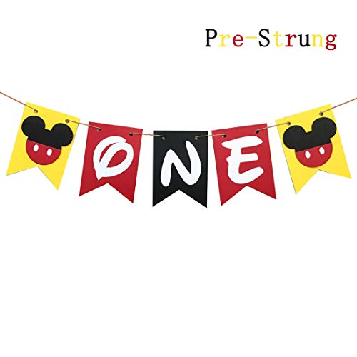 Mickey Mouse First Birthday Banner,Handmade 1st Birthday Party Decorations High Chair Banner,Mickey Mouse Baby Boy Photo Booth Props -