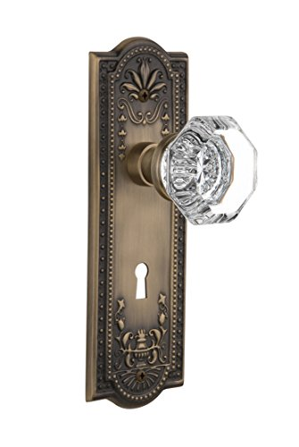 Nostalgic Warehouse Meadows Plate with Keyhole Waldorf Crystal Knob, Privacy - 2.375
