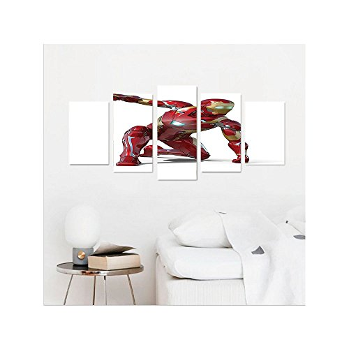 Liguo88 Custom canvas Superhero Wall Hanging Robot Transformer Hero with Superpowers in Costume Cyber Man Fun Character Picture Bedroom Living Room Decor White Maroon