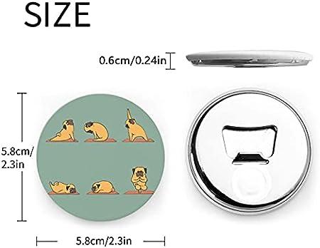 Abrebotellas redondos de Yoga Pug / Imanes de nevera Sacacorchos de acero inoxidable Etiqueta magnética 2 piezas