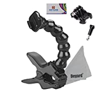 Deyard D050 Flex Clamp Clip Mount + Adjustable Gooseneck Arm Mount + Surface Quick Release Buckle + Long Screw Bolt + Deyard LCD Wiper for GoPro HD Hero 5 4 3+ 3 2