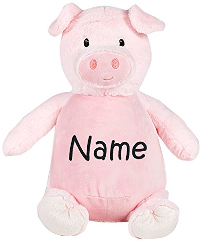 Personalized Stuffed Pink Pig with Embroidered Name