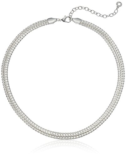 Anne Klein Classics Silver Tone 17-Inch Flat Collar Chain Necklace, Adjustable
