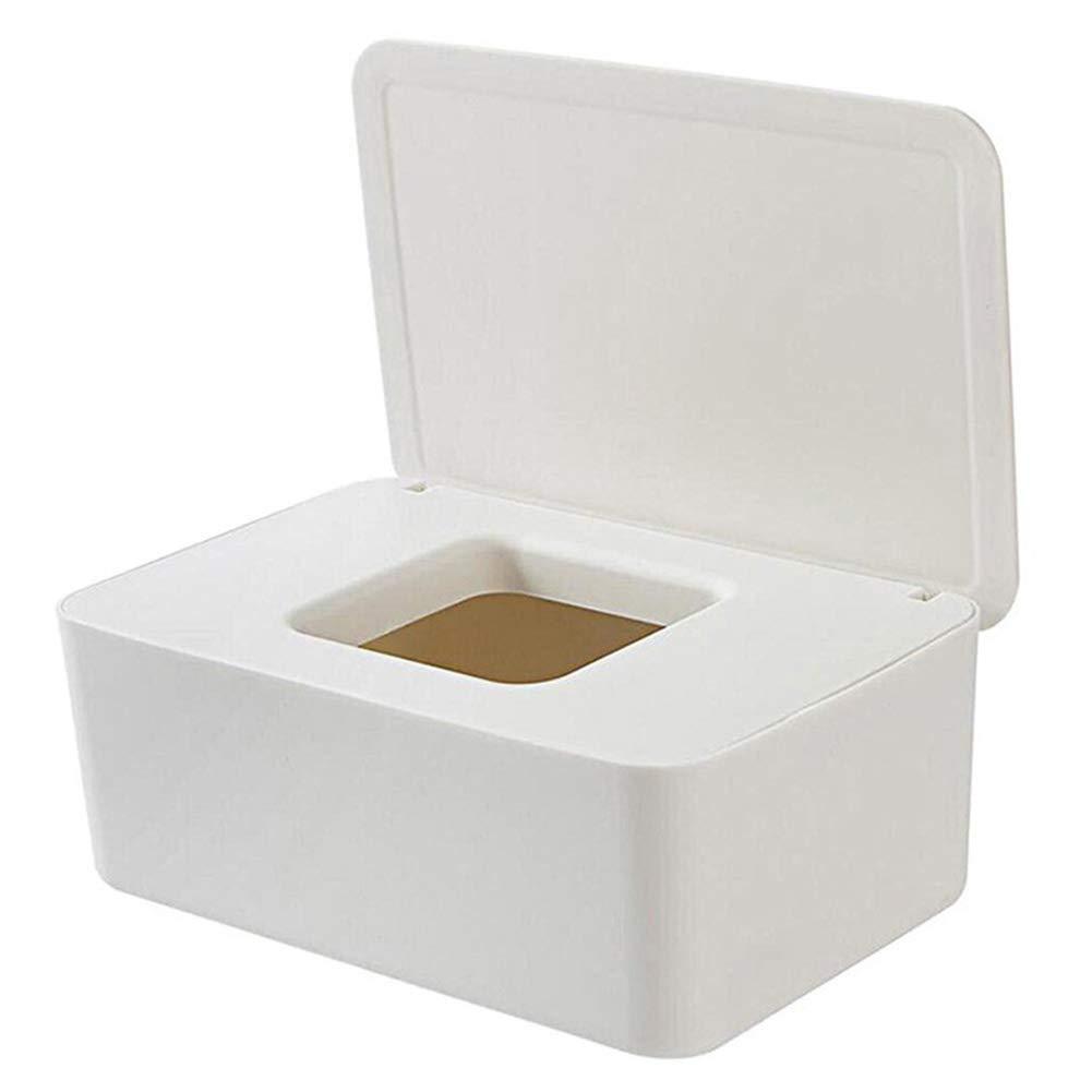 Brianer Wet Wipes Dispenser, Dry Wet Tissue Paper Case Dustproof Tissue Storage Box Case, Dispenser Holder with Lid for Home Office Desk
