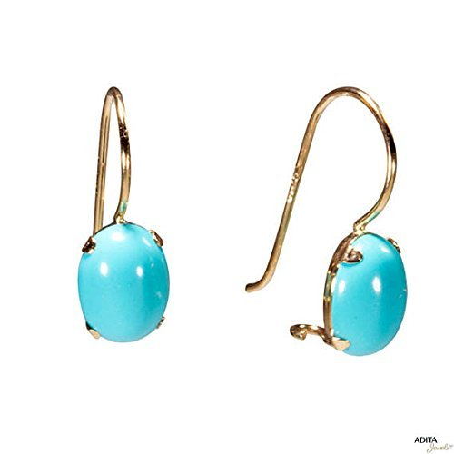 14k Gold Turquoise Earrings Yellow Solid Gold Ellipse Turquoise Handmade Dangle Earrings (14k Yellow Gold Turquoise Ring)