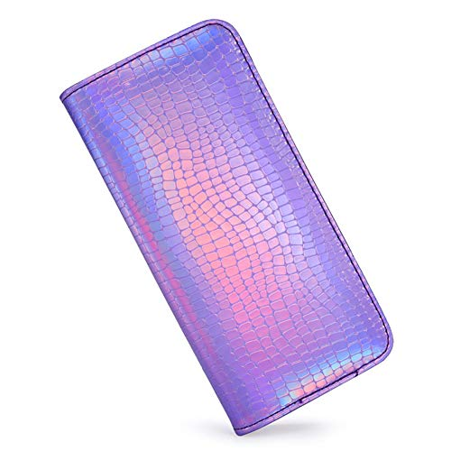 Phone Clutch Hologram Card Violet Stylish Purse Cell Long Around Holder Wallet Holographic Pouch Leather Zipper Womens Laser 1S6fgRRq