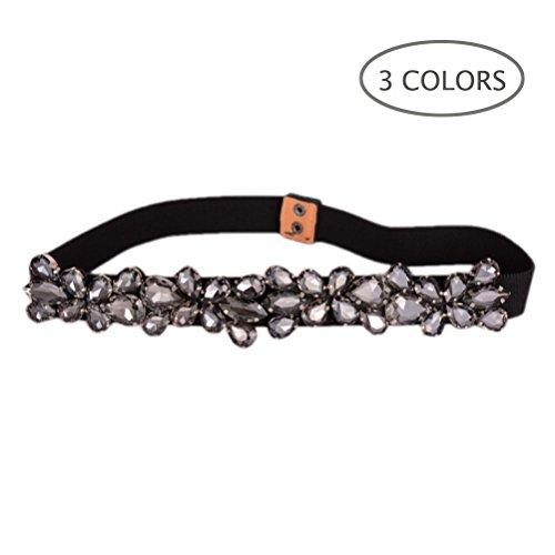 Dorchid Women's Rhinestone Skinny Belt Floral Elastic Cummerbunds for Lady Black ()