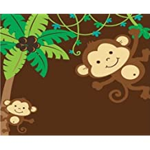CAKEUSA MOD Monkey Love First Baby Shower Birthday Cake Topper Edible Image 1/4 Sheet Frosting