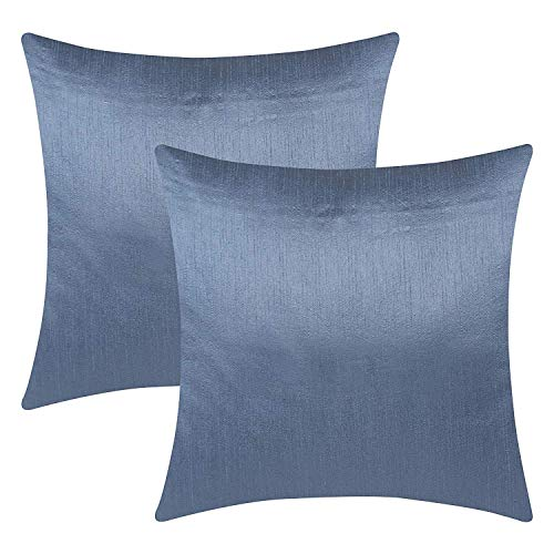 The White Petals Slate Blue Decorative Pillow Covers (Faux Silk, Solid Color, 18x18 inch, Pack of 2) ()