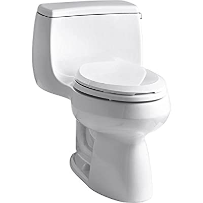 KOHLER K-3615-RA-0 Gabrielle Comfort Height One-Piece Elongated 1.28 GPF Toilet with AquaPiston Flush Technology and Right-Hand Trip Lever, White