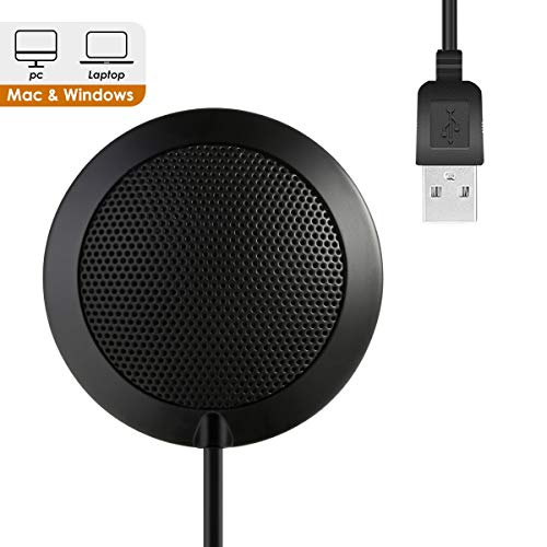 3.5mm Plug Conference Microphone, Stereo Desktop Mounted Mic Surface Table Top Boundary Omnidirectional Condenser for Teleconferencing, Meetings & Desktop