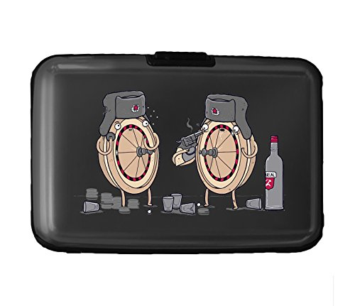 Russian Roulette Randy Otter Funny Humor - 3D Color Printed Black Aluminum Hard Credit Card Wallet ()