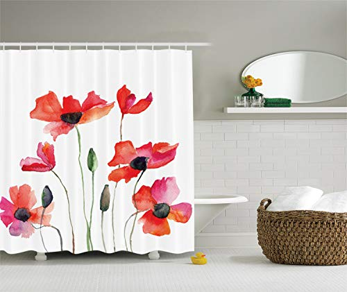 Ambesonne Watercolor Flower Decor Collection, Poppies Wildflowers Nature Painting Watercolor Effect, Polyester Fabric Bathroom Shower Curtain Set with Hooks, Orange Red Black Olive