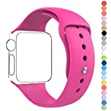 Apple Watch Band, HuanlongTM New Soft Silicone Sport Style Replacement Iwatch Strap for Apple Wrist Watch (Barbie Pink 38mm S/M)