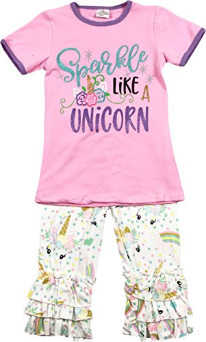 BNY Corner Little Girl Kids Short Sleeve Sparkle Unicorn Ruffle Pants Set Lilac 5 L (Cute Outfit For School)