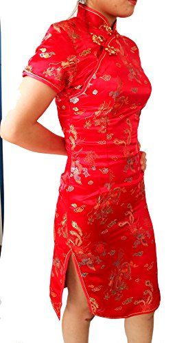 Chinese Women's Asia Miss Design Geisha Qipao Dress Costume Cosplay with Dragon Patterns (34, Red)