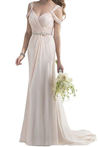 Victory Bridal Romantisch Rosa Etui Lang Hochzeitskleider Brautkleider Brautmode Figurbetont mit Schlepp Neu