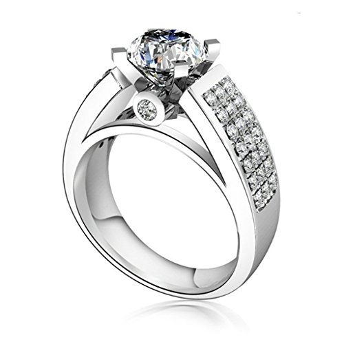 Gnzoe Jewelry, Women Wedding Ring Wide Silver Ring Cubic Zirconia, Customized Ring by Gnzoe
