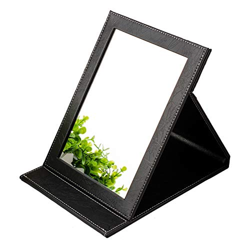 Compact Travel makeup Mirrors organizer with folding stand for Personal Beauty Portable vanity Mirrors, Slim PU Leather desktop black Small standing mirror handheld Making Up Size8-5.9inch B-Black