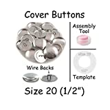Size 20 (1/2') Buttons to Cover/Self Cover Buttons with Wire Backs by i Craft for Less - Qty 75 (with Tool and Template)