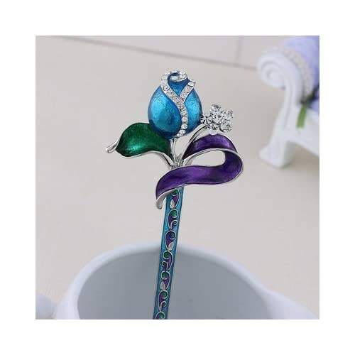 1Piece High Quality,5 Colors Rhinestone Crystal Antique Peacock Hair Sticks, Hairpin,Chopsticks,Hair accessory ,Wedding Hair Jewelry (blue) (purple)