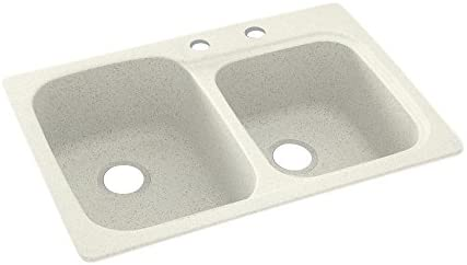 Swanstone KS03322DB.018-2C 2-Hole Solid Surface Kitchen Sink, 33 x 22 , Bisque
