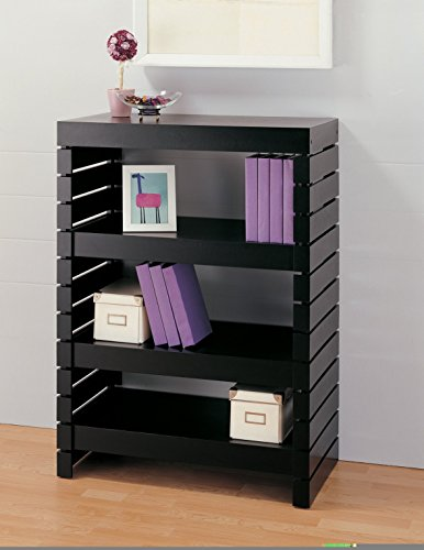 Bookcase (39654-1) 3 Tier Black Modern Bookshelves Constructed of Strong Engineered Wood Material - 32L x 17W x 43.75H in. Assembly Required by Organize It All