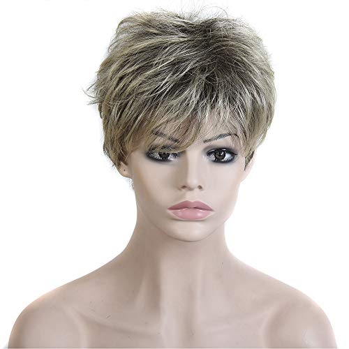 DOINSHOP Fashion Short Pixie Cut Straight Layered Synthetic Wig Full Hair For Women