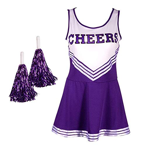 Women's Girl Musical Uniform Fancy Halloween Dress Costume Complete Outfit Cheer Leader Cheerleading Cosplay(Purple-M) for $<!--$18.99-->