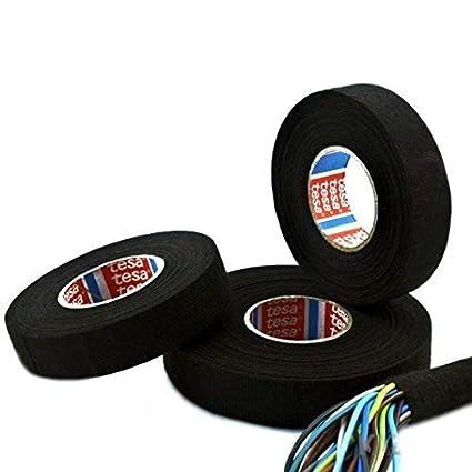 9mm x 25m tesa Gewebeband PET-Vlies 51608 Isolierband f/ür Kabelb/äume Baumwolle Klebeband, schwarz