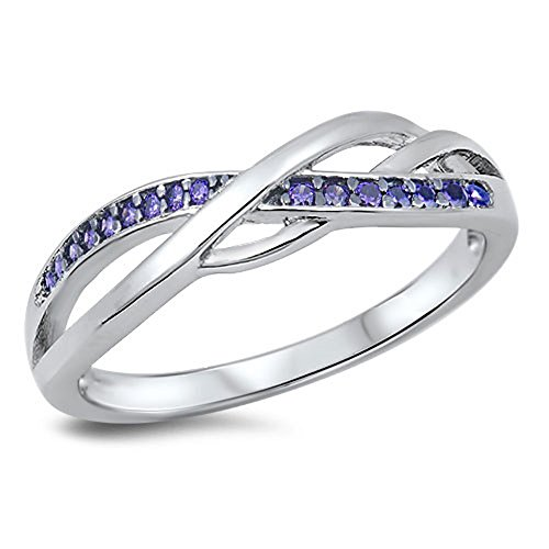 Infinity Knot Simulated Amethyst Promise Ring New .925 Sterling Silver Band Size 7