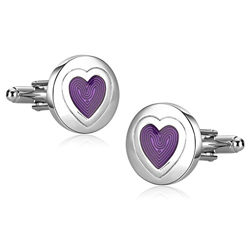 Stainless Steel Cufflinks Men Round Heart Pattern Silver Purple Unique Tuxedo 1.8X1.8CM Xmas Box - Outlet Rock Round Texas