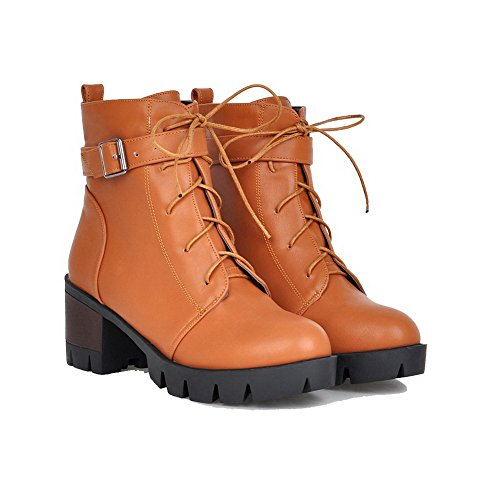 Allhqfashion Women's Soft Material Lace-up Round Closed Toe Kitten Heels Mid Top Boots Brown BezKE