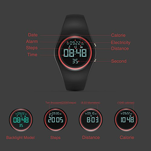 Synwoo Pedometer Smart Watch IP68 Waterproof Sport Wristwatch Fitness Tracker with Step Distance Calorie Alarm Clock and Timer Function for Kid Teenager and Adult (Black & Grey) by Synwoo (Image #5)