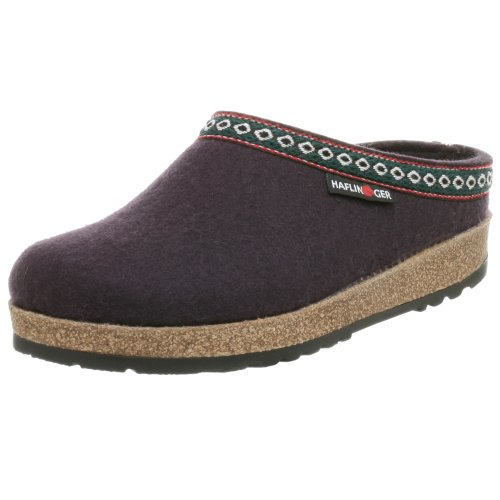 Haflinger Unisex Classic Grizzly Slip-On,Eggplant,39 EU (US Women's 8 M) by Haflinger