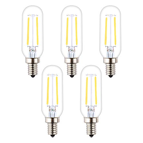 OPALRAY T25 Low Voltage LED Small Tube Bulb, DC 12V, 4000K Neutral White Light, Dimmable with DC Dimmer, E12 Candelabra Base, 2W 200Lm, 25W Incandescent Equivalent, Solar System 12Volt Power, 5-Pack