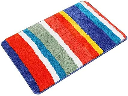 Bathroom Rugs Non Skid Machine Washable Microfiber Bath Rugs Floor Mats For Kids Bathroom Floor Absorbent Bath Mats Machine Washable Rainbow Yixin Color Red Size 50 80cm Buy Online At