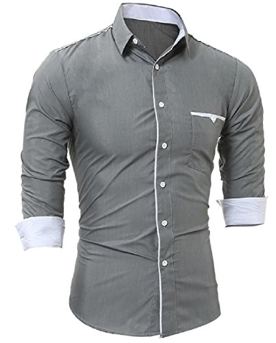 Winwinus Mens Long Sleeve Slim Fit Button Down Casual with Pockets Shirts