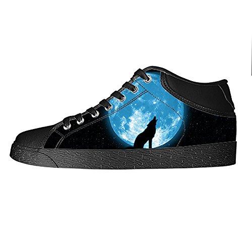 E Delle Le Tela Di Scarpe Custom Canvas In Alto Shoes Ginnastica Sopra Da I Lupo Luna Lacci Men's 5qwq8BU