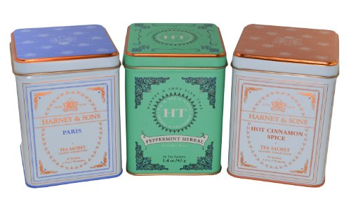 Cinnamon Mint Tea (Harney & Sons Fine Tea Sachet Collection - Hot Cinnamon Spice 1.4 Ounce, Peppermint Herbal 1.2 Ounce, and Paris 1.4 Ounce - Classic Tin of 20 Sachets - 3-Pack)