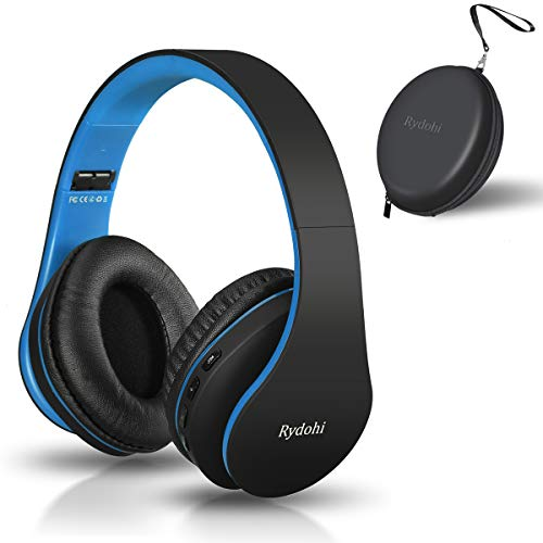 Bluetooth Headphones Over Ear, Rydohi Foldable Wireless and Wired Stereo Headset with Built-in Mic, Micro SD/TF, FM Radio, Soft Earmuffs & Light Weight for Cell Phone PC TV Travel (Black-Blue)