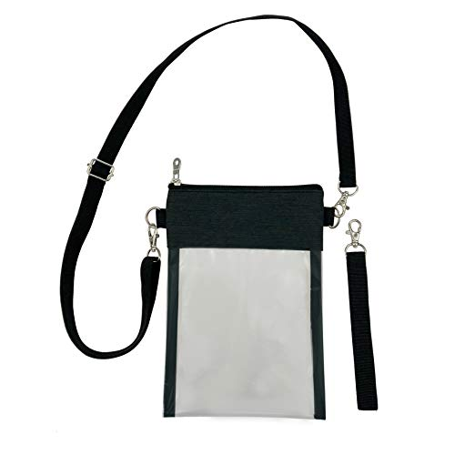 Greenpine Clear Crossbody Purse Bag, Gym Zippered Tote Bag Clear Gameday Bag with Adjustable Shoulder Strap and Wrist Strap for Work Sports Games (Black) ()