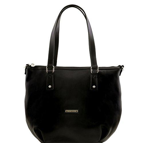 81414844 - TUSCANY LEATHER: OLGA - Sac shopping en cuir - Grand modèle, Noir