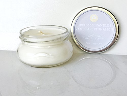 Vanilla Cinnamon Scented Soy Candle Handmade by Heirloom Candles, 3.3oz
