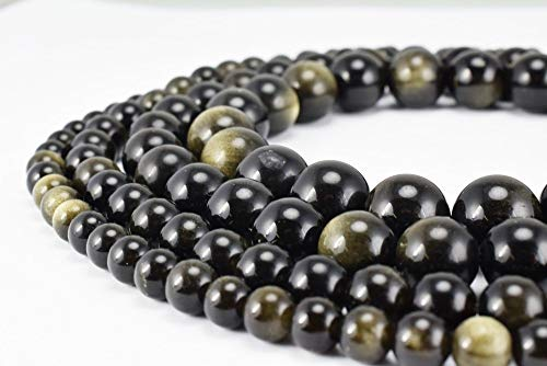 Obsidian Gold (8mm Black Onyx Gemstone Round Loose Beads for Jewelry Making(47-50pcs/strand) (Black Gold Obsidian))